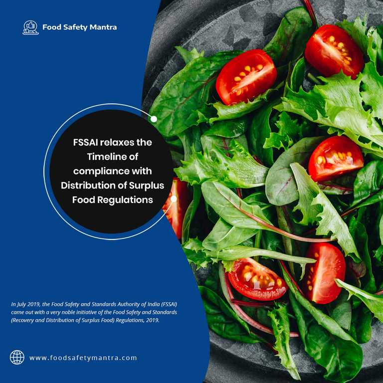 FSSAI Relaxes The Timeline Of Compliance With Distribution Of Surplus Food Regulations